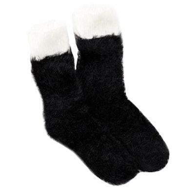 Fuzzy Color Block Crew Sock