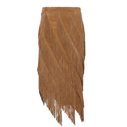 Goat Suede Layered Fringe Skirt