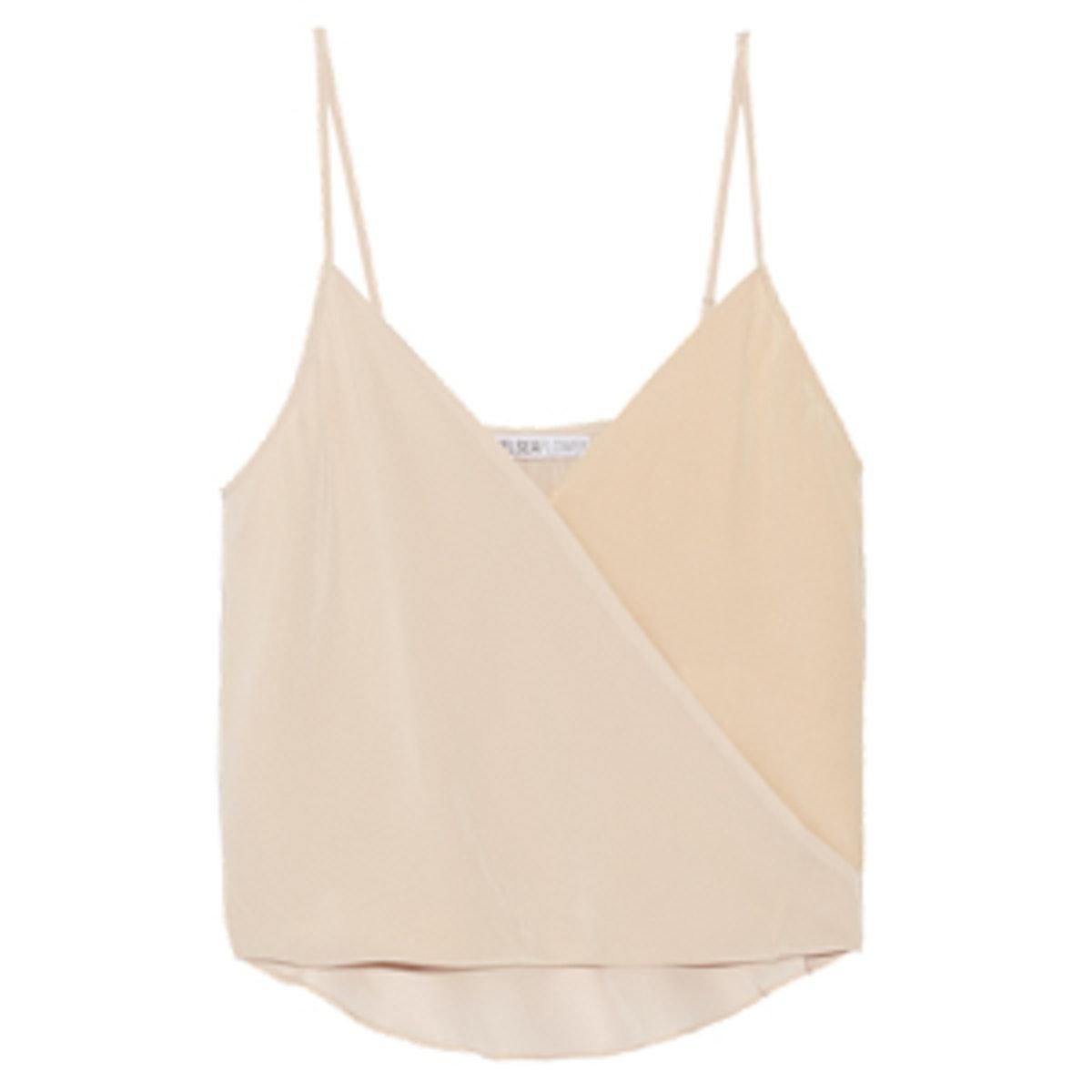 Two-tone Silk Crepe Top