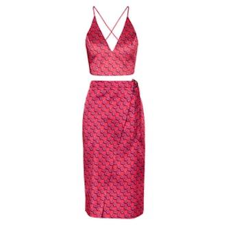 Premium Satin Floral Bralet and Midi Skirt
