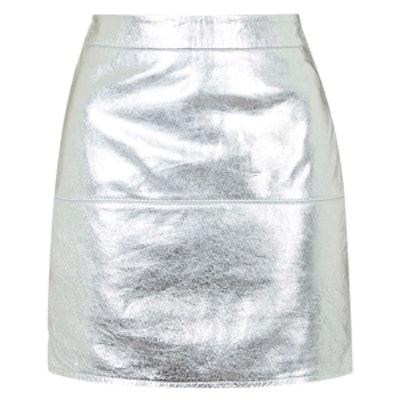 Metallic Silver Leather Skirt