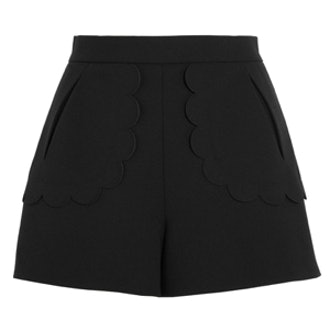 Scalloped Stretch-Crepe Shorts