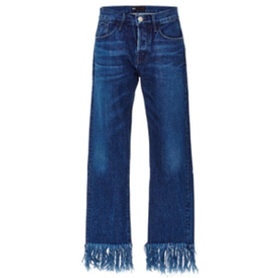 Cropped Jeans with Frayed Hems