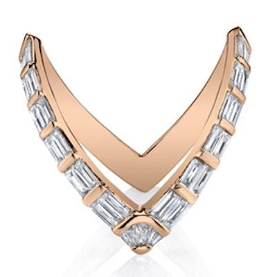 Rose Gold Baguette V Ring