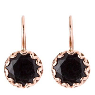 Rose Gold Petite Onyx Round Crown Drop Earrings