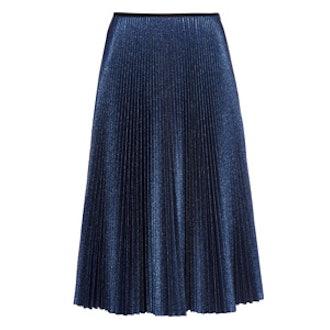 Metallic-Knit Pleated Midi Skirt