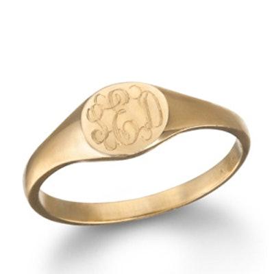 Rose Gold Mini Signet Monogram Ring