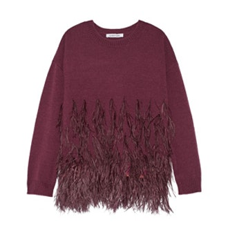 Feather Trimmed Cotton Blend Sweater