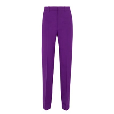 Stretch Wool And Silk Blend Straight Leg Pants