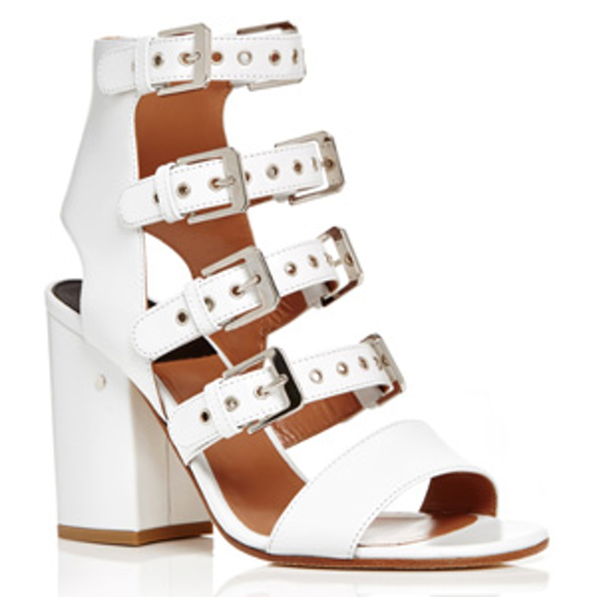 Kloe White Calf Leather Buckle Strap Sandals