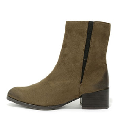 Khaki Pointed Mid-Calf Boots