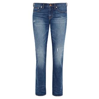 Distressed Mid-Rise Slim Boyfriend Jeans