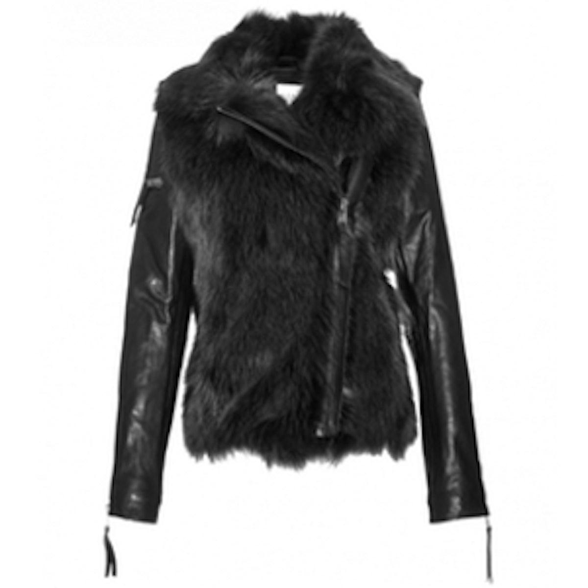 Asymmetrical Leather Sleeve Jacket