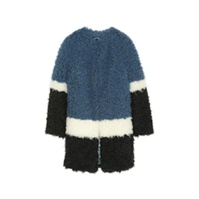 Plum Color-Block Faux Shearling Coat