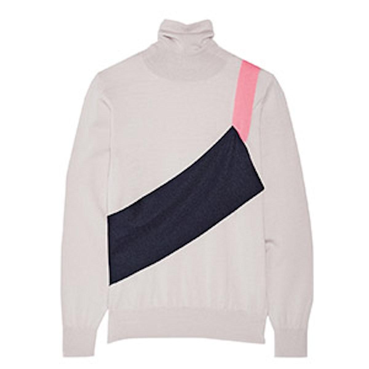 Wool-Blend Jersey Turtleneck Sweater