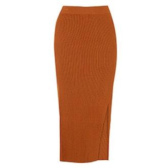 Rib Front Split Knit Skirt