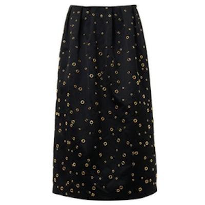 Eyelet-Detail Satin Midi-Skirt