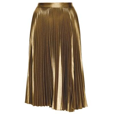 Metallic Pleated Gates Midi Skirt