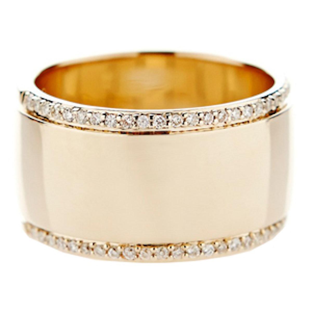Pave Diamond & Yellow Gold Ring