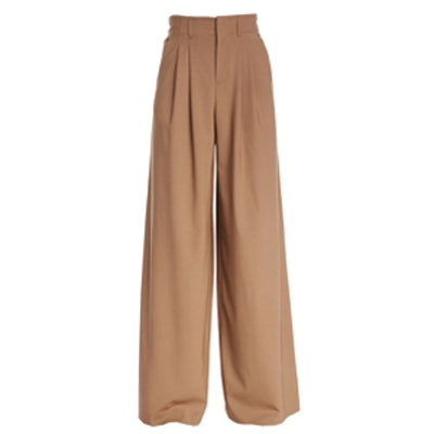 High-Waist Pleated Wide-Leg Trousers
