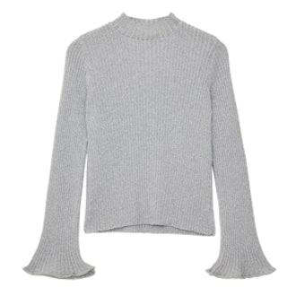 Sweater In Metallic Rib With Flared Sleeve