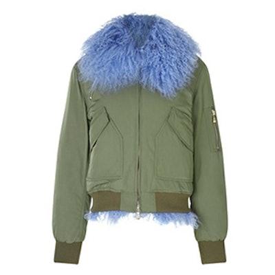 Khaki Shearling Grace Bomber Jacket