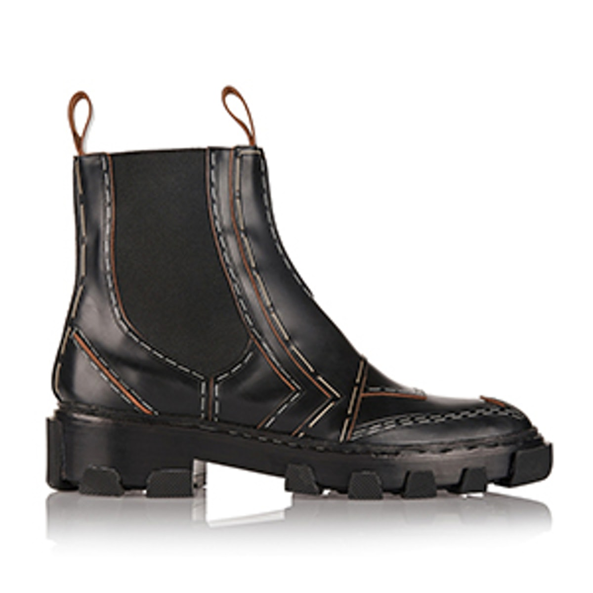 Topstitch Leather Chelsea Boots
