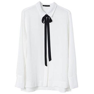 Contrast Tie-Front Blouse