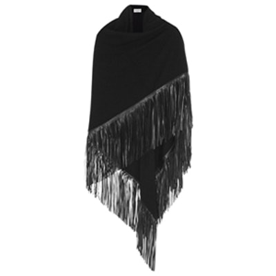 Fringed Leather and Cashmere Wrap