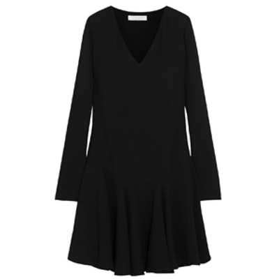 Drop-Waist Crepe Mini Dress