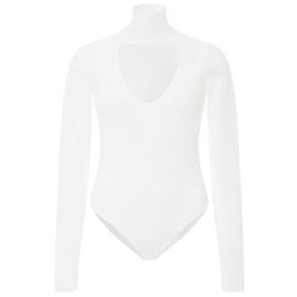 White Cutout Collar Bodysuit
