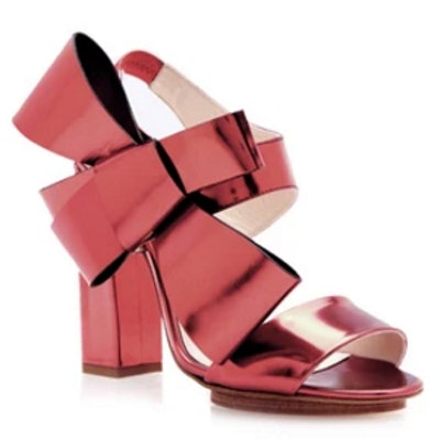 Calf Leather Heels with Bow