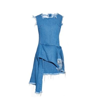 Frayed Asymmetric Denim Dress