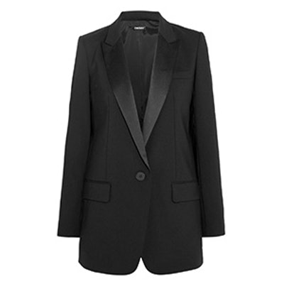 Satin-Trimmed Crepe Tuxedo Blazer