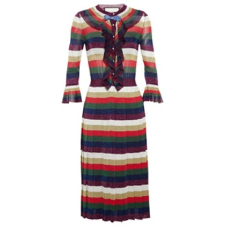 Striped Lurex Frilled Dress