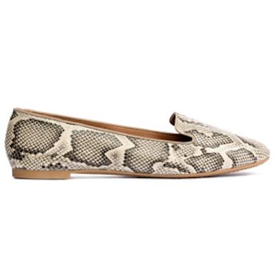 Snakeskin Patterned Loafers