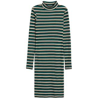 Striped Mock Turtleneck Dress