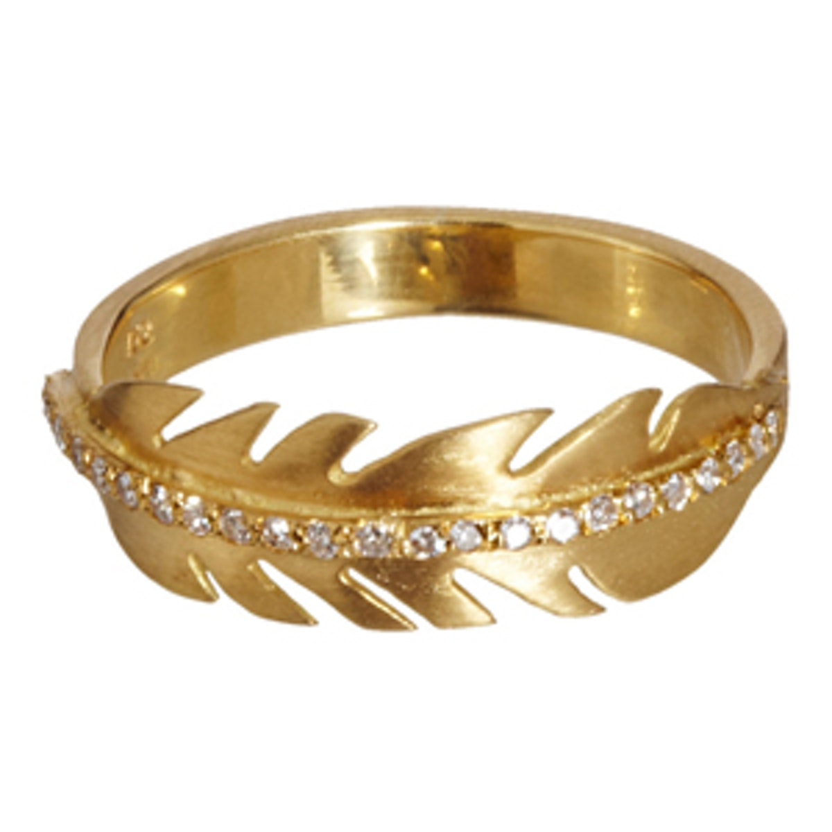 Diamond & Yellow Gold Feather Ring