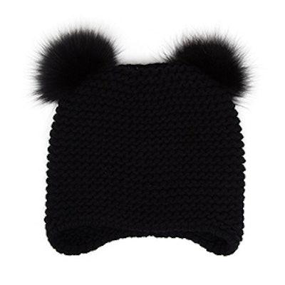 Cashmere Hat with Pom Poms