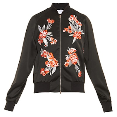 Cecily Embroidered Satin Bomber Jacket