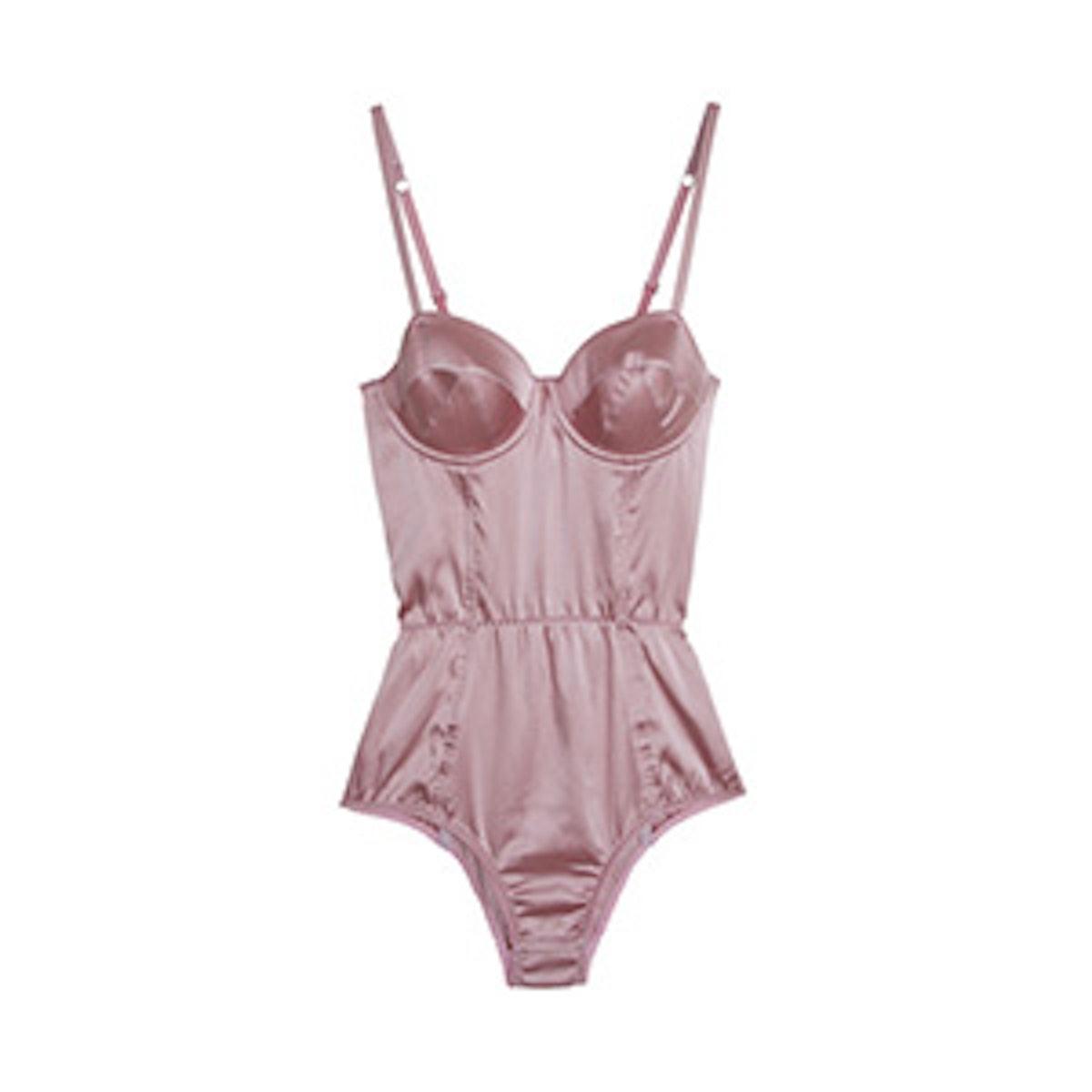 Pink Silk Satin Bodysuit