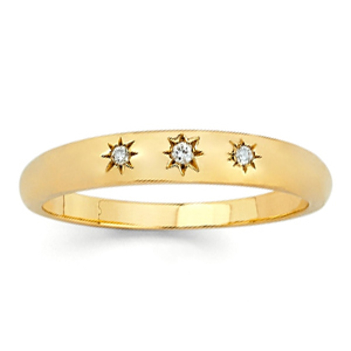 Star Set Diamond and Gold Ring