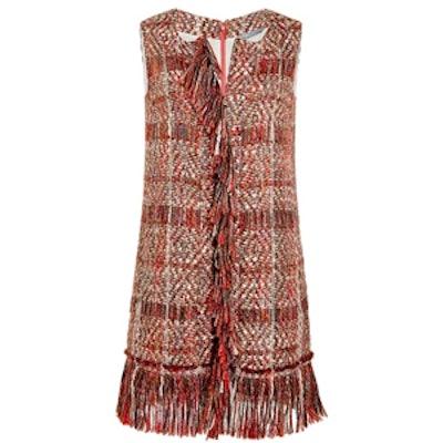 Pleat Sleeve Flared Mini Dress