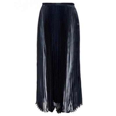 Pleated Metallic Silk Midi Skirt