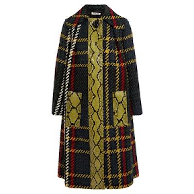 Python-Paneled Plaid Tweed Coat