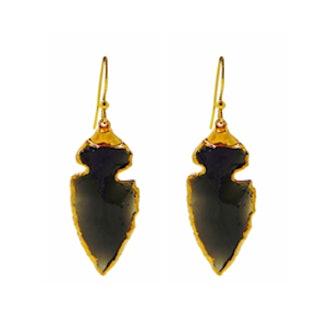 Obsidian Arrowhead Drop Earrings