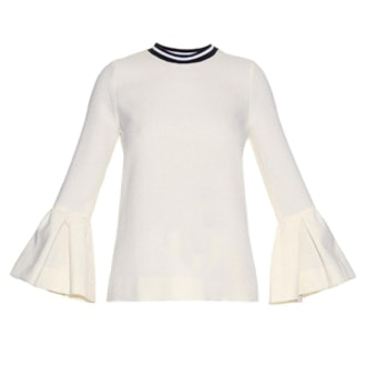Varden Navy Wool Pleated Sleeve Top