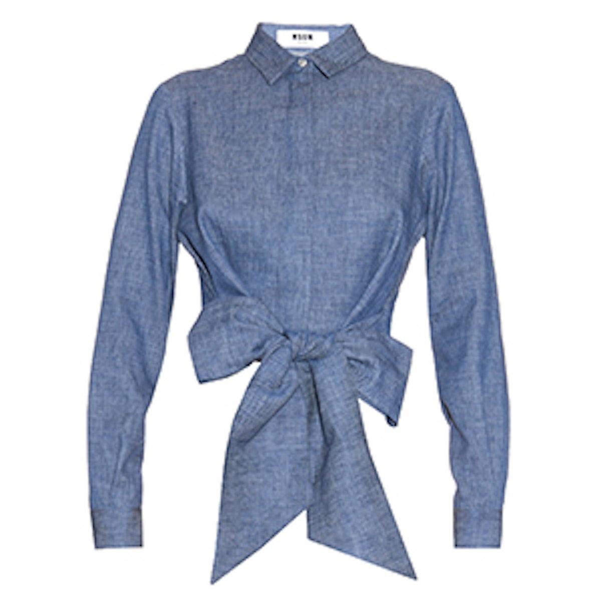 Waist-Tie Denim Shirt