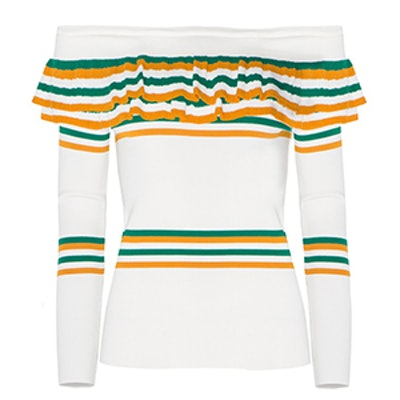 Striped Ruffled Sweater