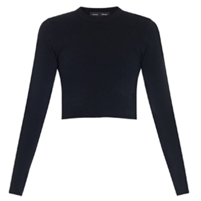Long-Sleeved Cropped Knit Top